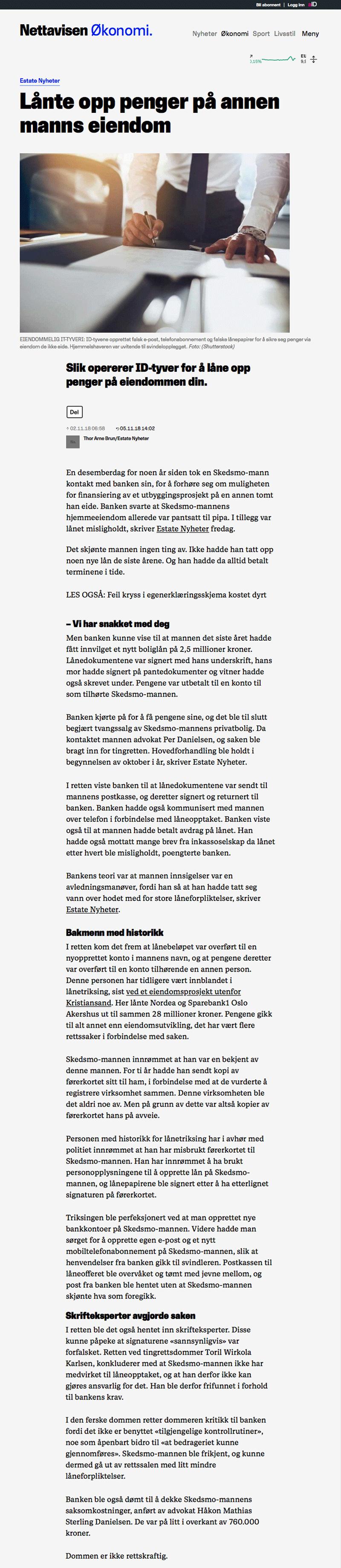 Advokat økonomisk kriminalitet. Frikjent for banksvindel. Advokat Danielsen & Co. Per Danielsen.