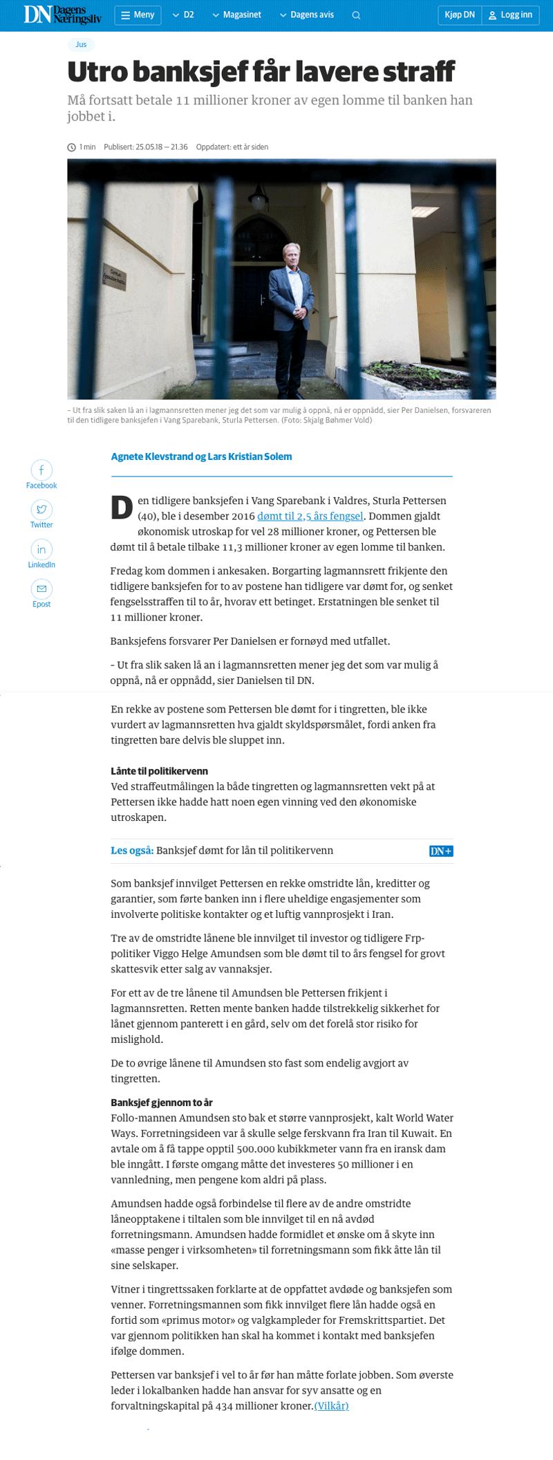 Advokat økonomisk kriminalitet. Lavere straff for utro banksjef. Advokat Danielsen & Co. Per Danielsen.