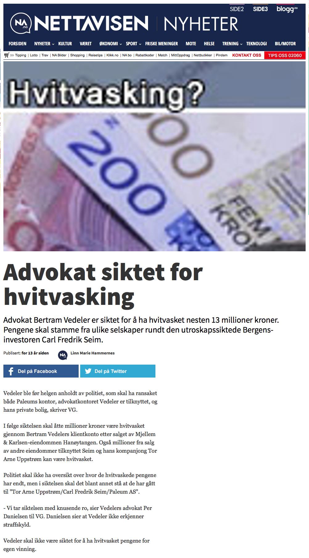 Advokat økonomisk kriminalitet. Advokat siktet for hvitvasking. Advokat Danielsen & Co. Per Danielsen.