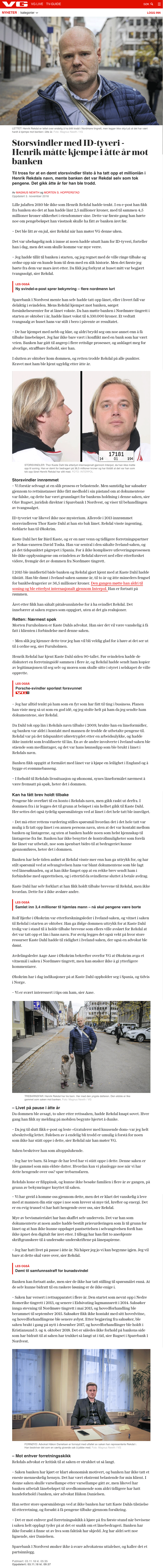 ID-Tyveri Utsatt for ID tyveri. Henrik Rekdal. Advokat Danielsen & Co. Per Danielsen.