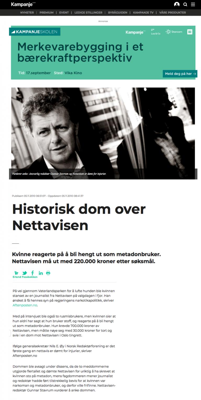 Ærekrenkelse Nettavis dømt for injurier. Advokat Danielsen & Co. Per Danielsen. Advokat i Oslo.