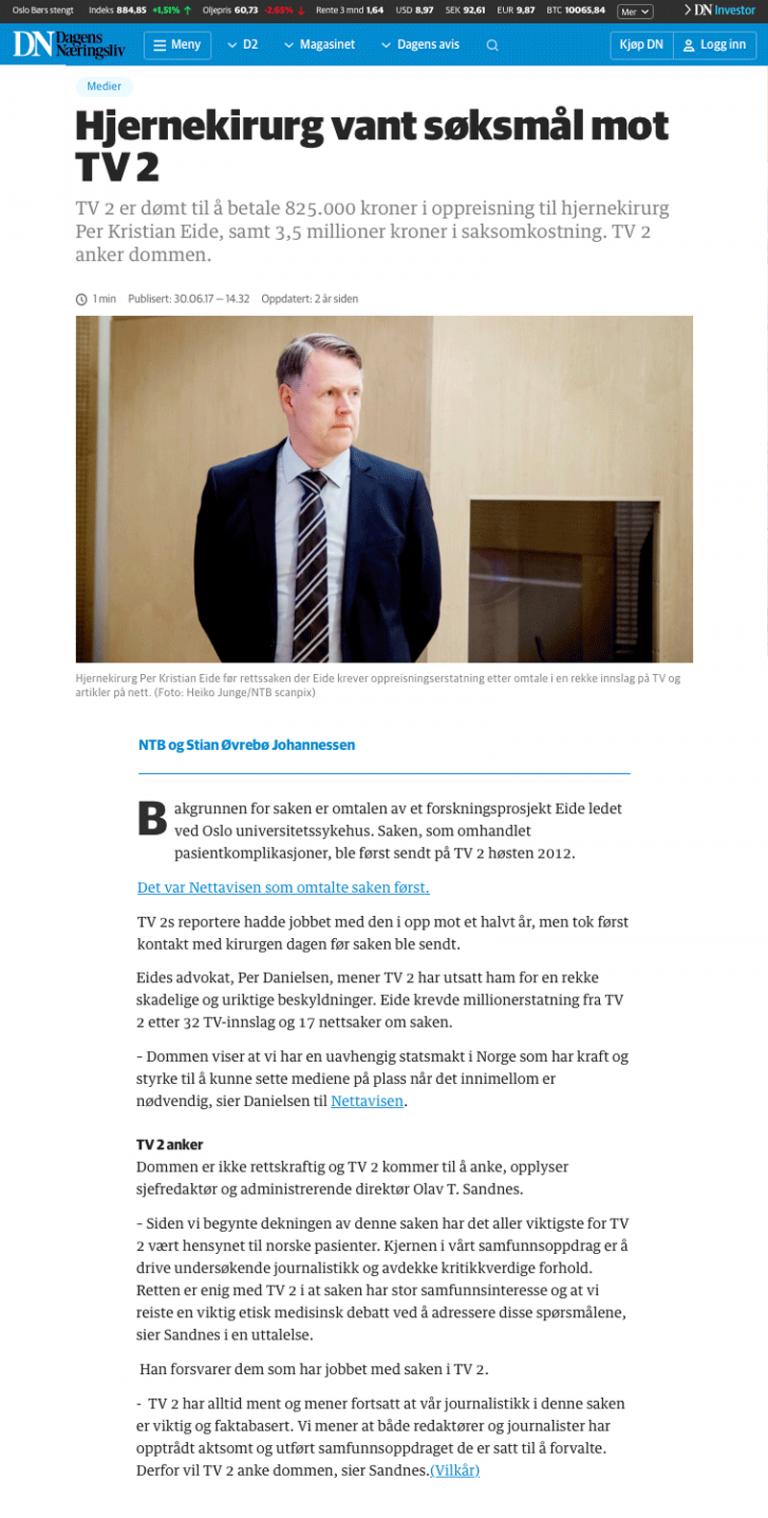 Ærekrenkelse Hjernekirurg vant søksmål mot TV2. Advokat Danielsen & Co. Per Danielsen. Advokat i Oslo.