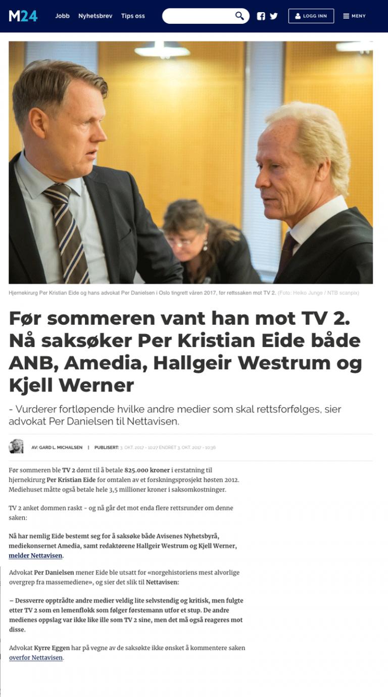 Ærekrenkelse Kirurg vant mot TV2 - nå saksøkes flere. Advokat Danielsen & Co. Per Danielsen. Advokat i Oslo.