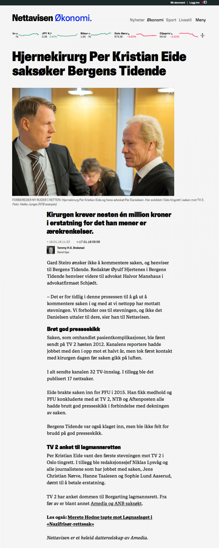 Ærekrenkelse Hjernekirurg saksøker Bergens Tidene. Advokat Danielsen & Co. Per Danielsen. Advokat i Oslo.