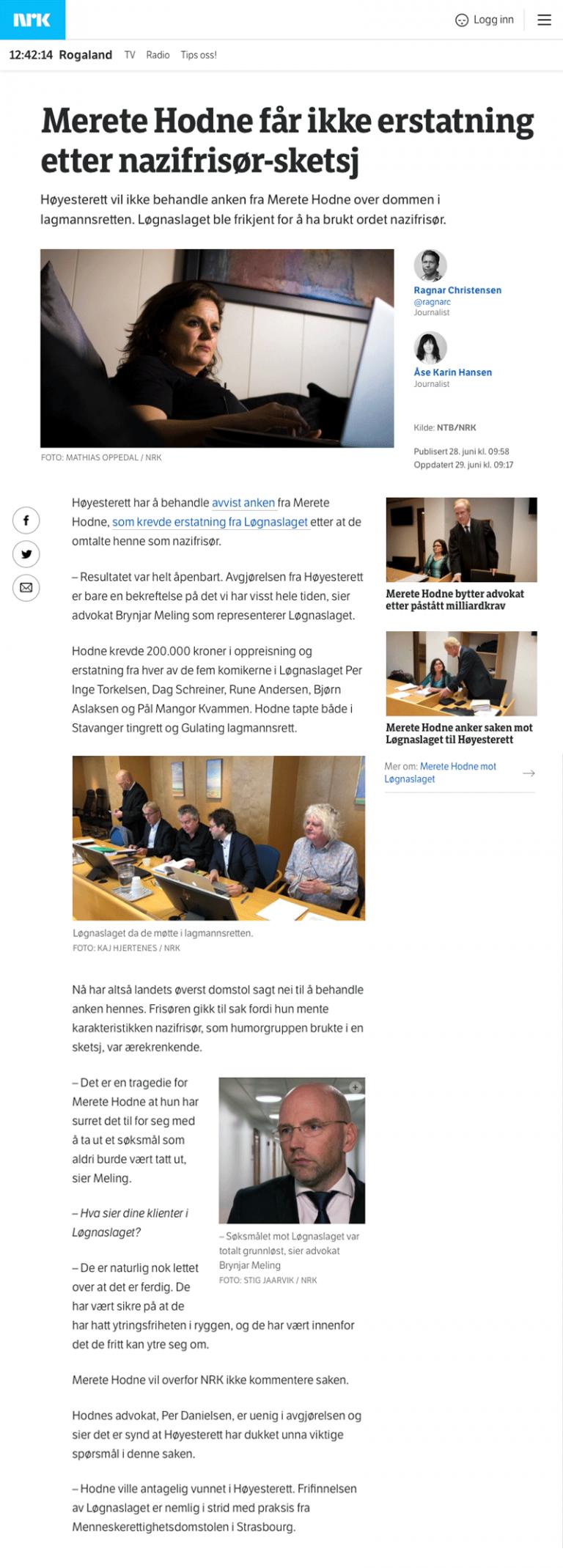 Ærekrenkelse Ingen erstatning etter nazifrisør sketsj. Advokat Danielsen & Co. Per Danielsen. Advokat i Oslo.