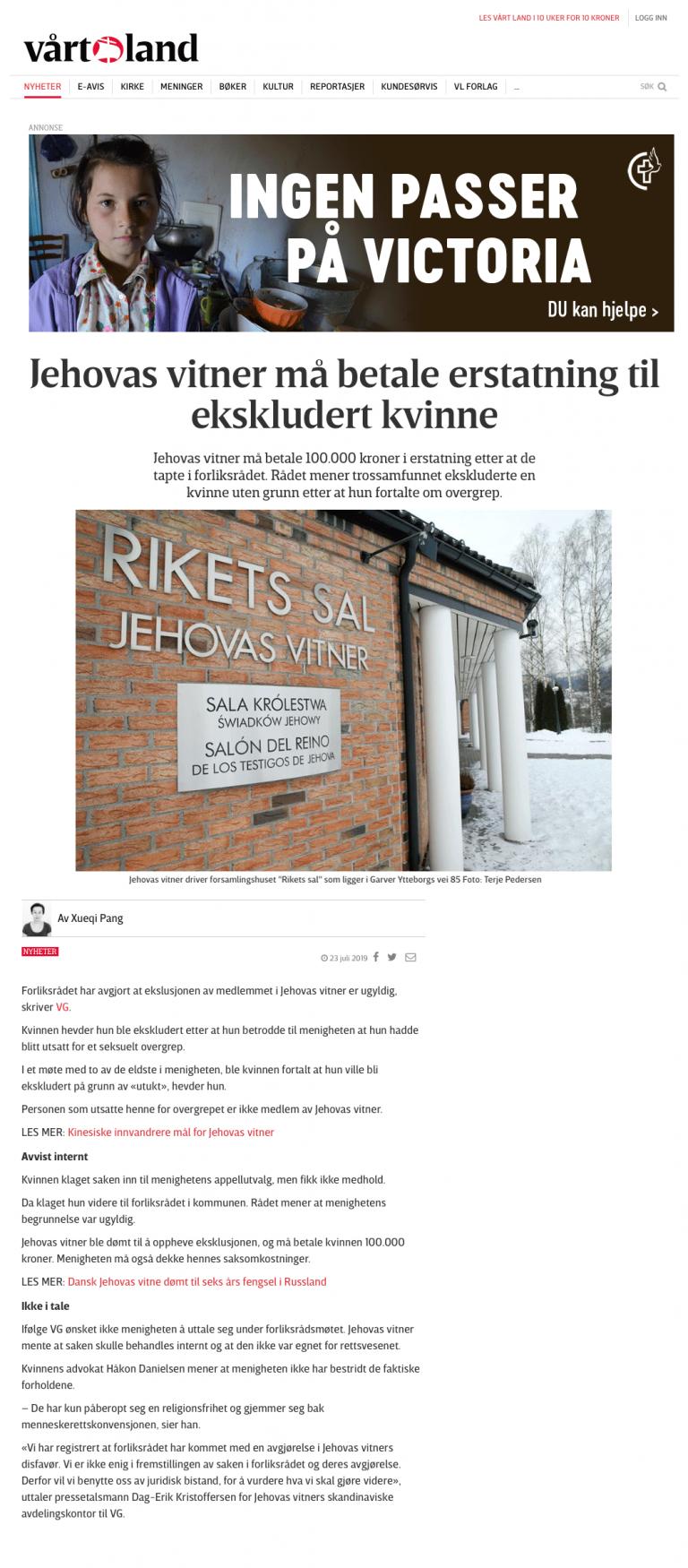 Ærekrenkelse Jehovas vitner må betale erstatning. Advokat Danielsen & Co. Per Danielsen. Advokat i Oslo.