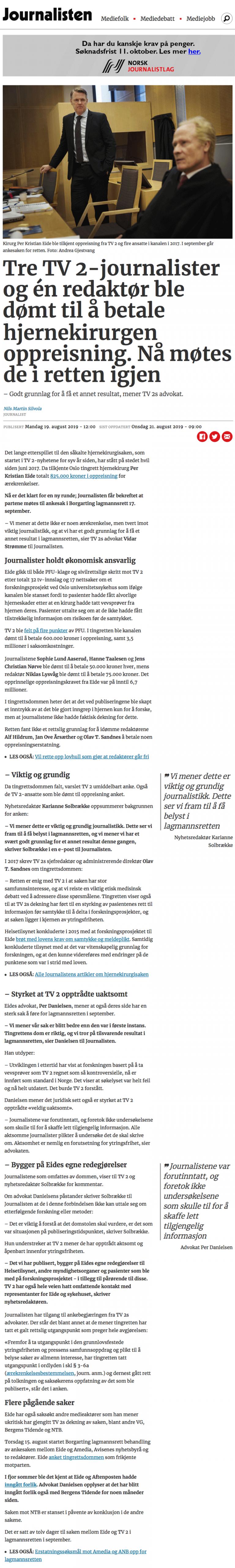 Ærekrenkelse Journalister og en redaktør dømt. Advokat Danielsen & Co. Per Danielsen. Advokat i Oslo.