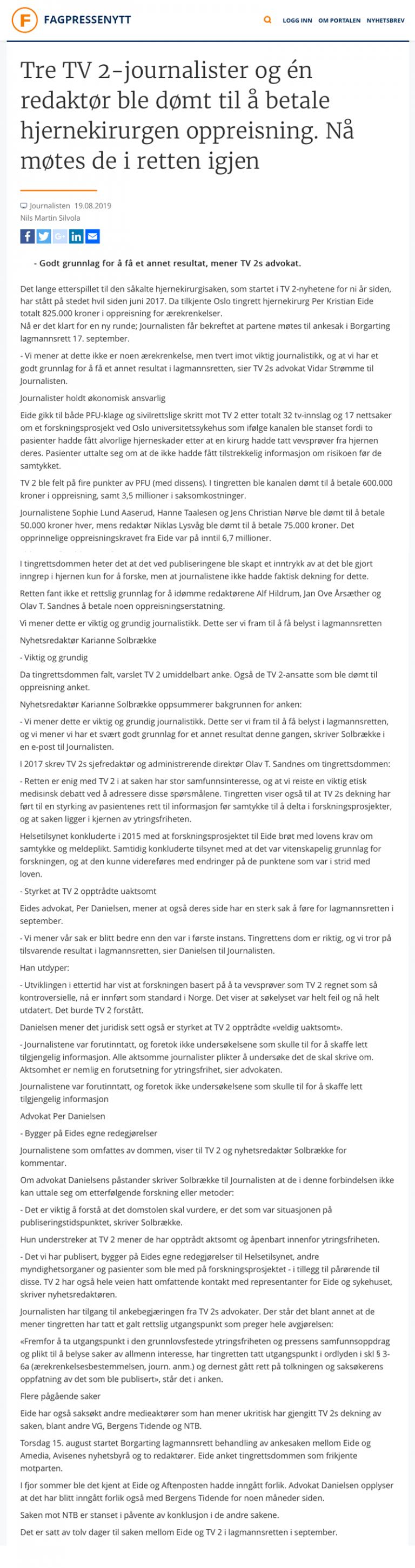 Ærekrenkelse advokat Ny runde i den såkalte hjernekirurgisaken. Advokat Danielsen & Co. Per Danielsen. Advokat i Oslo.