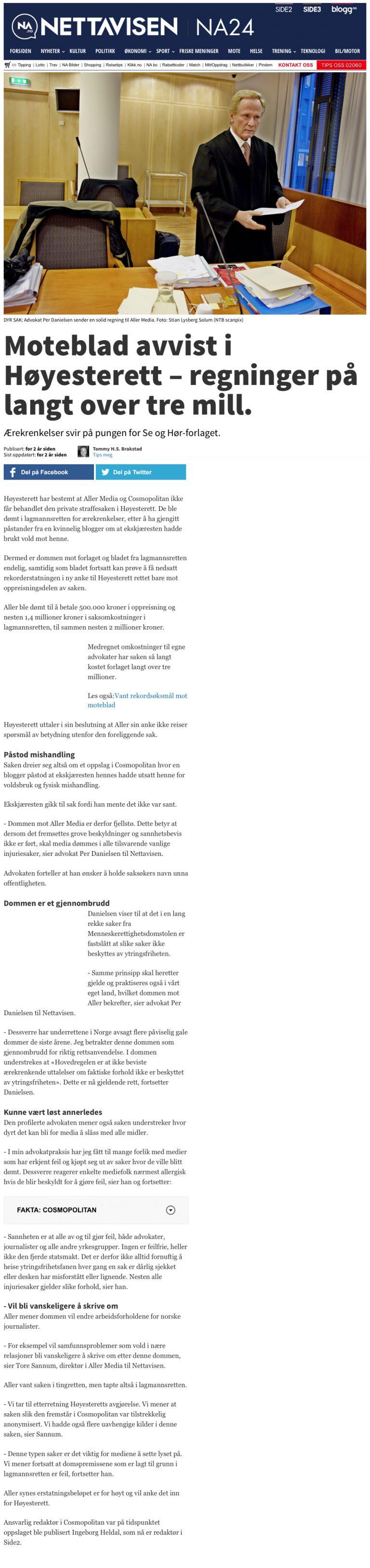 Ærekrenkelse Aller Forlag avvist i Høyesterett. Advokat Danielsen & Co. Per Danielsen. Advokat i Oslo.