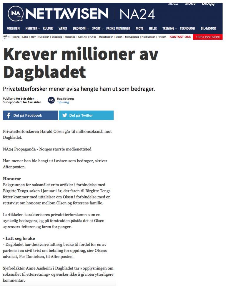 Ærekrenkelse Krever millioner av Dagbladet. Advokat Danielsen & Co. Per Danielsen. Advokat i Oslo.