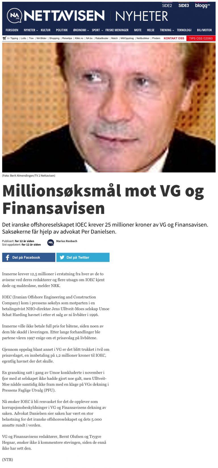 Ærekrenkelse Millionsøksmål mot Hegnar. Advokat Danielsen & Co. Per Danielsen. Advokat i Oslo.