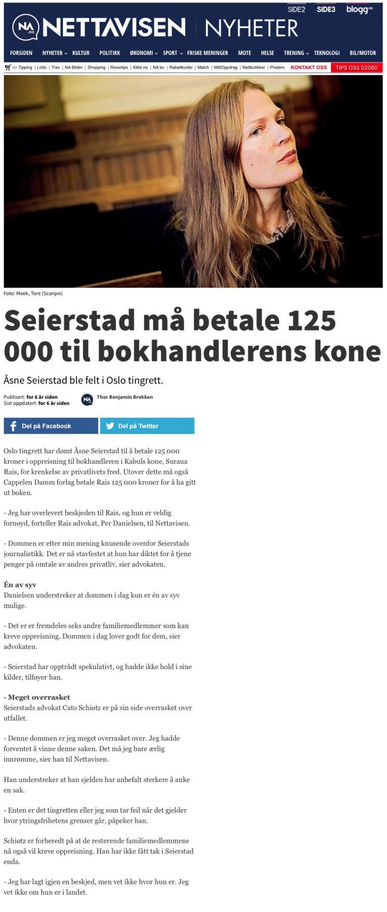 Ærekrenkelse Seierstad dømt av retten (Nettavisen). Advokat Danielsen & Co. Per Danielsen. Advokat i Oslo.