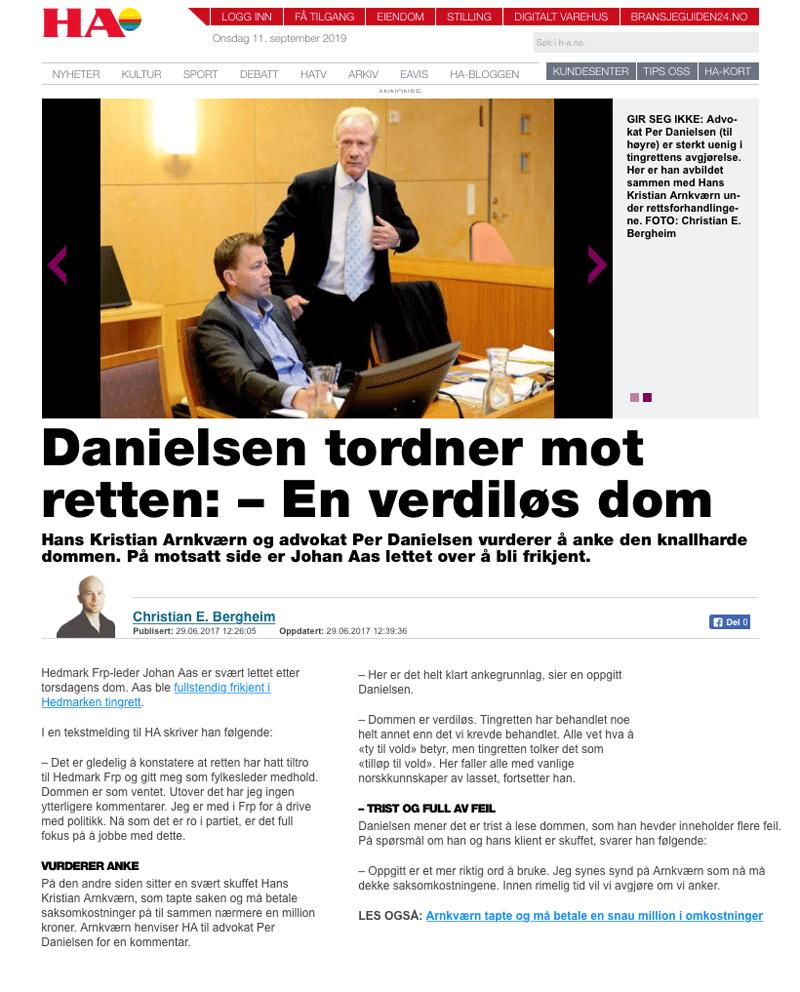 Lokal Frp-leder saksøkt. Alminnelig praksis. Advokat Danielsen & Co. Per Danielsen. Advokat i Oslo.