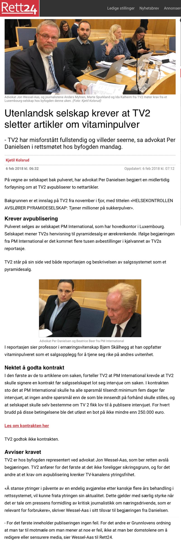 Krever TV2 sletter artikler om vitaminpulver. Alminnelig praksis. Advokat Danielsen & Co. Per Danielsen. Advokat i Oslo.