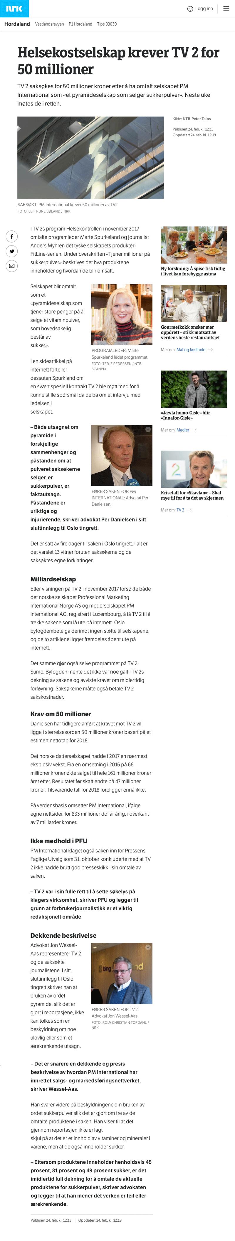 Helsekostselskap med millionkrav. Alminnelig praksis. Advokat Danielsen & Co. Per Danielsen. Advokat i Oslo.