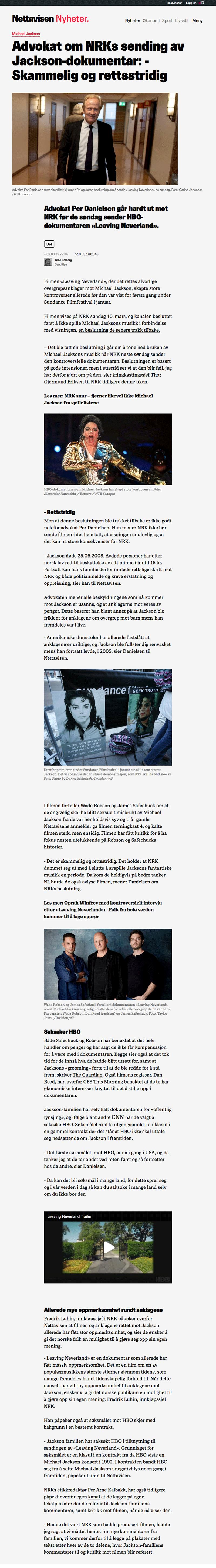 Danielsen kritiserer NRK før Michael Jackson dokumentar. Alminnelig praksis. Advokat Danielsen & Co. Per Danielsen. Advokat i Oslo.