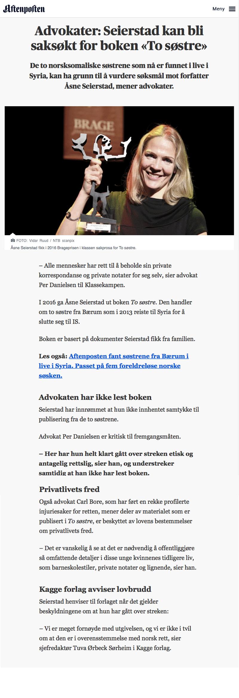 Seierstad kan bli saksøkt for boken to søstre. Alminnelig praksis. Advokat Danielsen & Co. Per Danielsen. Advokat i Oslo.