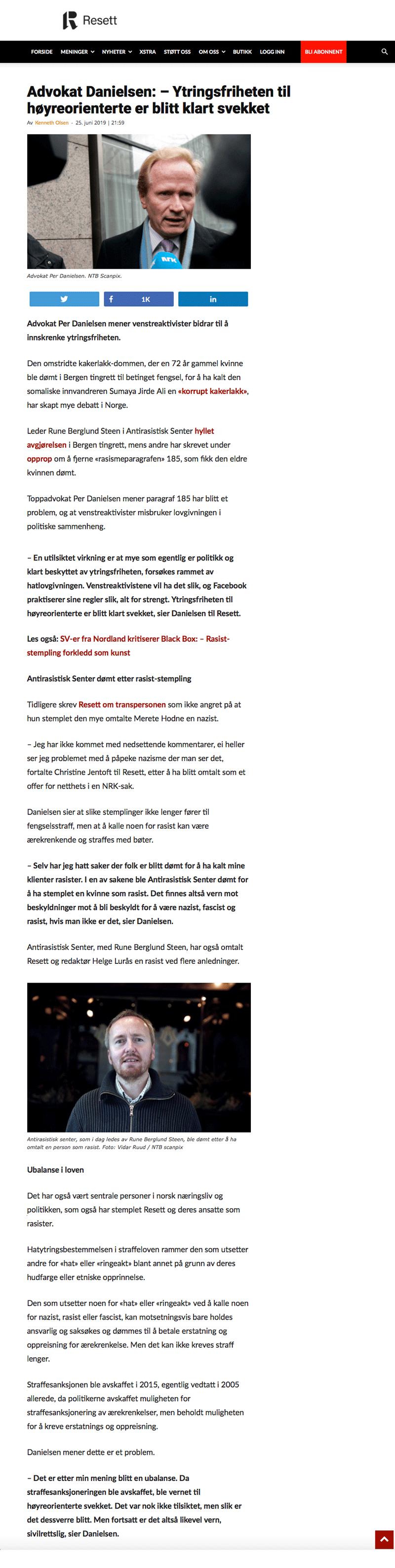 Advokat Danielsen - Ytringsfriheten til høyreorienterte er klart svekket. Alminnelig praksis. Advokat Danielsen & Co. Per Danielsen. Advokat i Oslo.