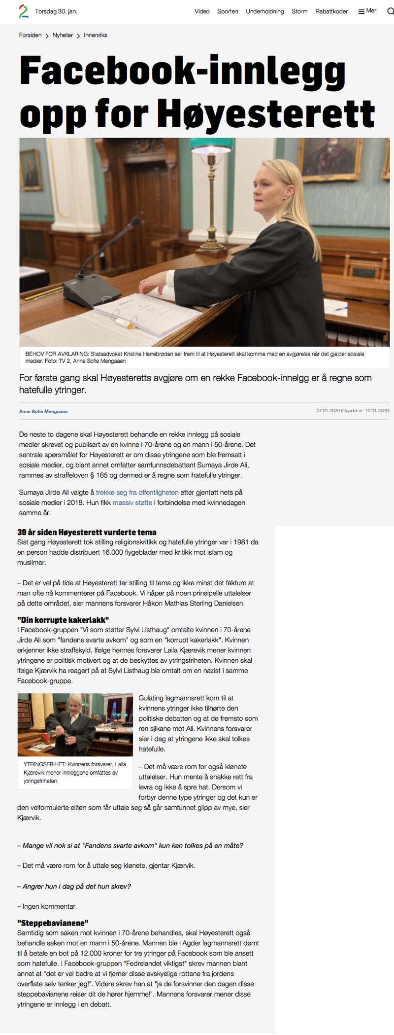 Ytringsfrihet Advokat. Facebook-innlegg opp for høyesterett. Advokat Danielsen & Co. Per Danielsen. Arbeidsrett advokat i Oslo.