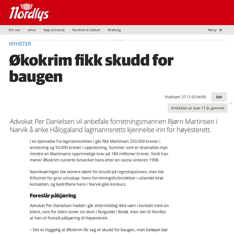 Økokrim dømt til å betale erstatning. Advokat Danielsen & Co. Per Danielsen. Advokat i Oslo.