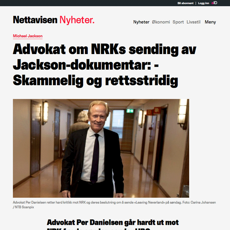 Danielsen kritiserer NRK før Michael Jackson dokumentar. Advokat Danielsen & Co. Per Danielsen. Advokat i Oslo.