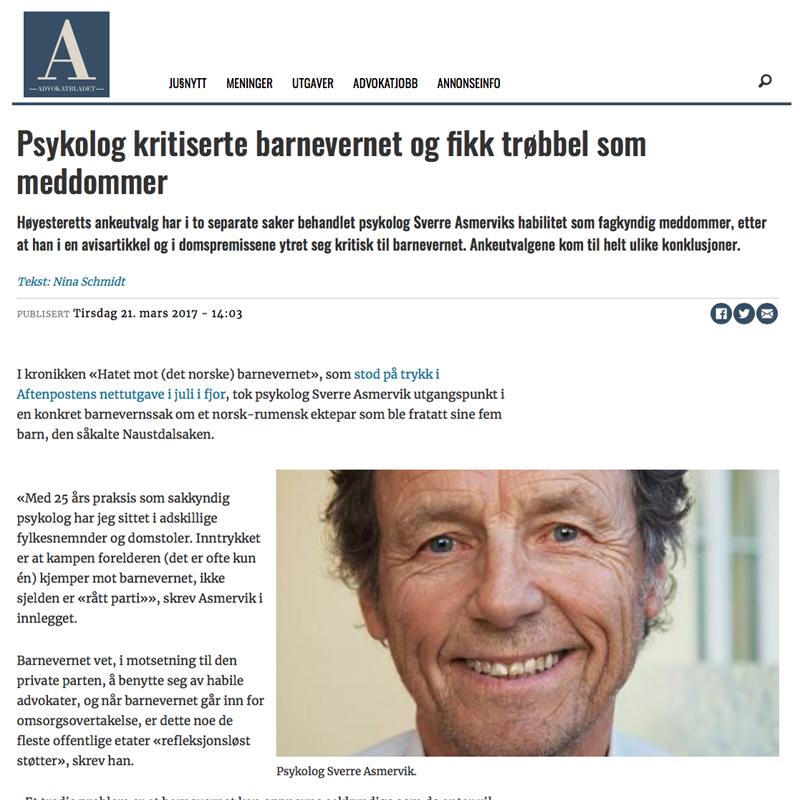 Barnepsykolog vippet ut. dvokat Danielsen & Co. Per Danielsen. Advokat i Oslo.
