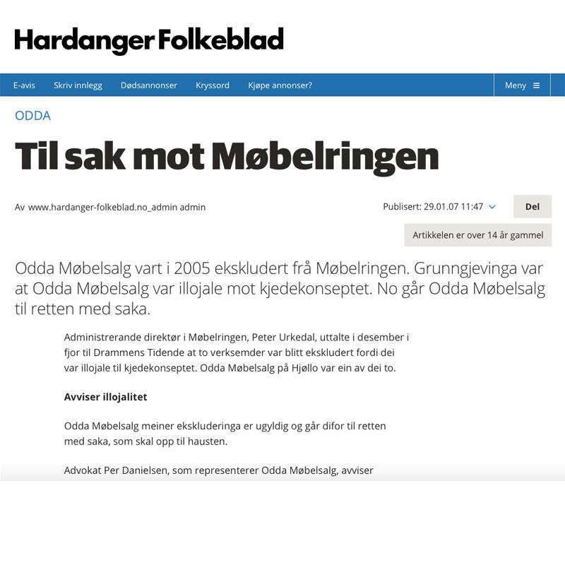 Eksklusjonssak i Møbelringen. Advokat Danielsen & Co. Per Danielsen. Advokat i Oslo.