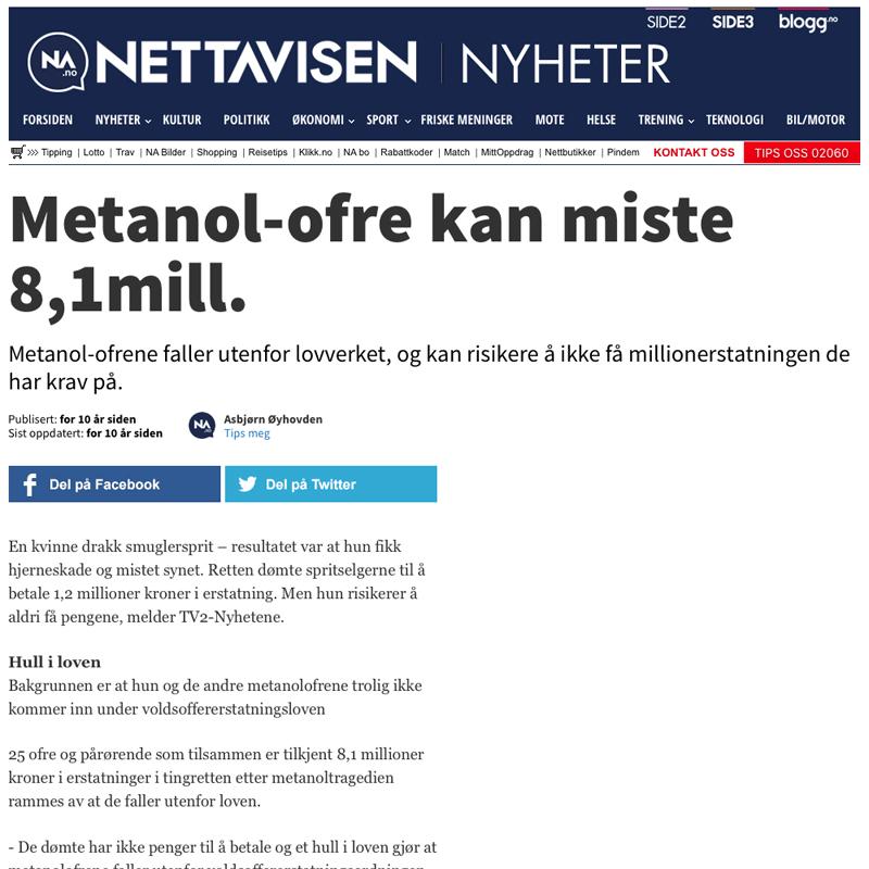 Metanol-ofre krever erstatning. Advokat Danielsen & Co. Per Danielsen. Advokat i Oslo.