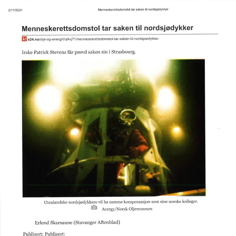 Dykkersak behandles i EMD. Advokat Danielsen & Co. Per Danielsen. Advokat i Oslo.