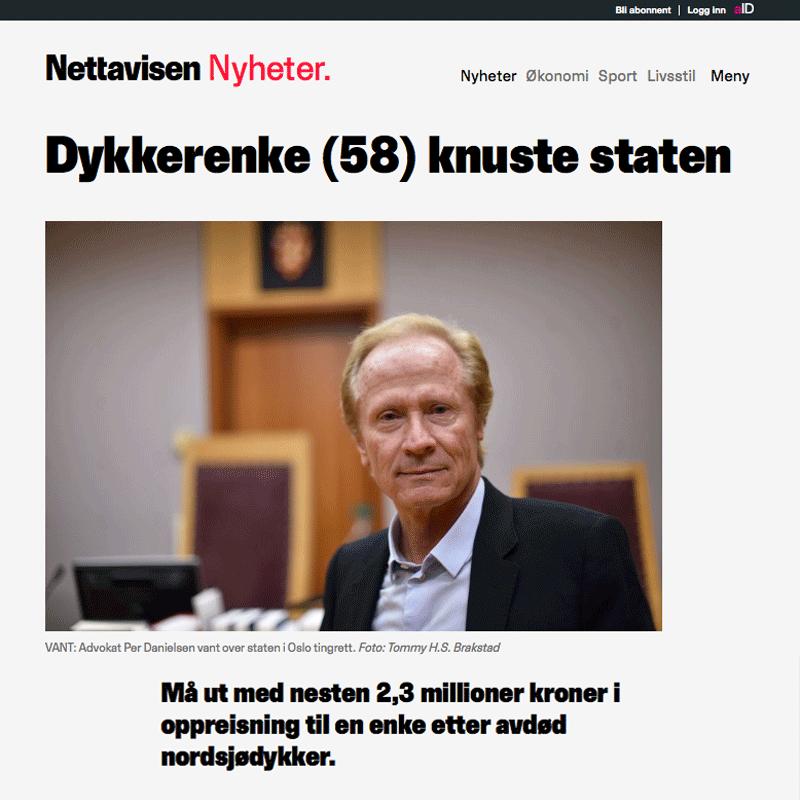 2,3 millioner i erstatning til dykkerenke. Advokat Danielsen & Co. Per Danielsen. Advokat i Oslo.