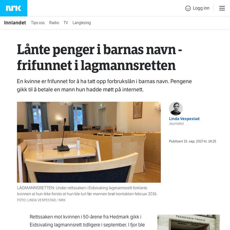 Frifunnet for bedrageri. Advokat Danielsen & Co. Per Danielsen. Advokat i Oslo.