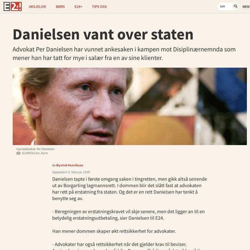 Erstatningssak mot staten. Advokat Danielsen & Co. Per Danielsen. Advokat i Oslo.