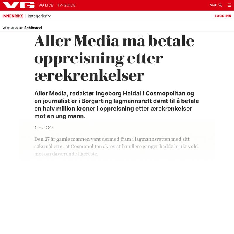 Ukeblad dømt til halv million. Advokat Danielsen. Per Danielsen. Advokat i Oslo.