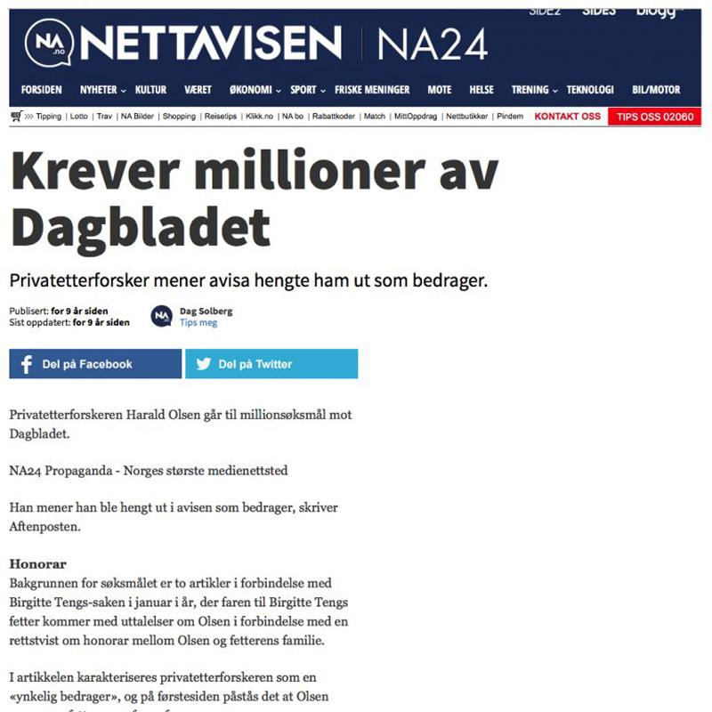 Krever millioner av Dagbladet. Advokat Danielsen & Co. Per Danielsen. Advokat i Oslo.